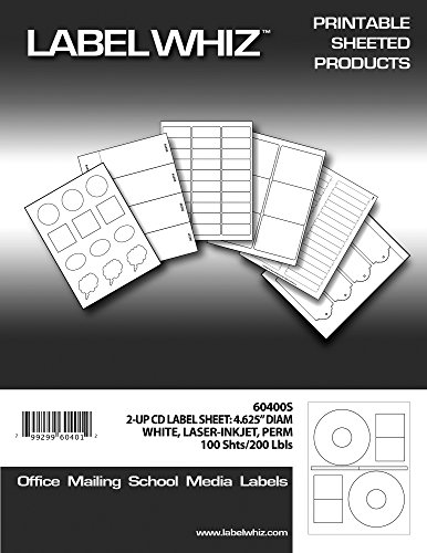 LabelWhiz CD/DVD Labels for Laser and Inkjet Printers, 4....