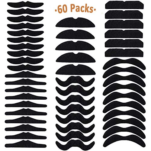 Whaline 60 Piece Fake Mustache Self Adhesive Costume Novelty Mustaches for Party Supplies, Masquerade & Performance (Black)]()
