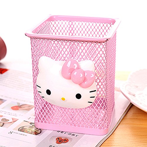 YOURNELO Cute Hello Kitty Hollow-Out Pen Pencil Holder Desk Organizer Accessories (Square Pink)