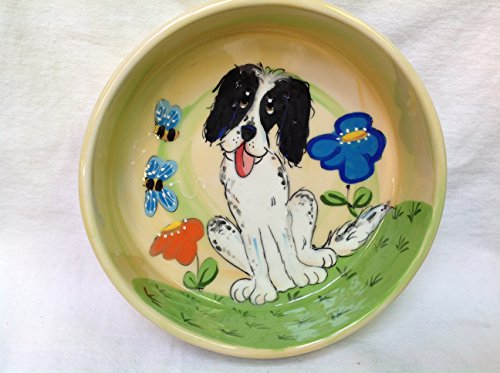 Spaniel 10'' Dog Bowl for Food or Water. Personalized at no Charge. Signed by Artist, Debby Carman. by Faux Paw Productions, Inc., Laguna Beach, CA