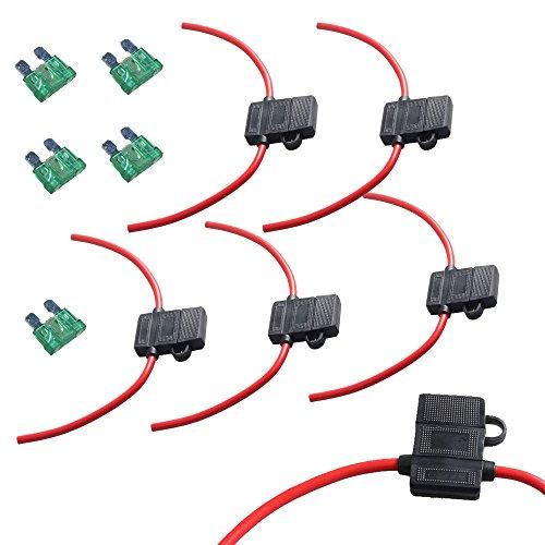 EtoparsTM 5 X 12 Gauge ATC Fuse Holder Box In-Line AWG Wire Copper 12V 30A Blade Standard Plug Socket