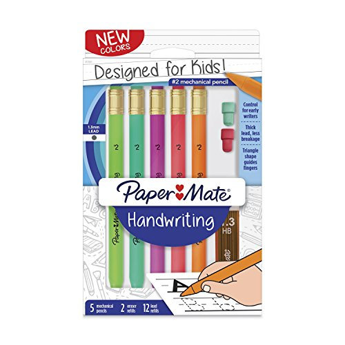 - Paper Mate Handwriting Triangular Mechanical Pencil Set with Lead & Eraser Refills, 1.3mm, Fun Barrel Colors, 8 Count (2017483)