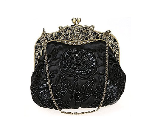 Floral Party Vintage Wedding for Purse Black Women's Handbag Beaded Satin Handbag Evening TEdfqv