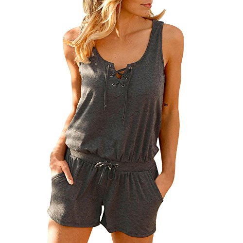 (Womens Jumpsuits Vest,Cinsanong Sales! Ladies Solid Color V Neck Fashion Tank Tops Bandage Summer Playsuit Deep Gray)