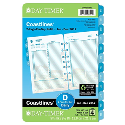 "Day-Timer Daily Planner Refill 2017, Two Page Per Day, Loose Leaf, 5-7/16 x 8-1/2"", Desk Size, Coastlines (13180)"