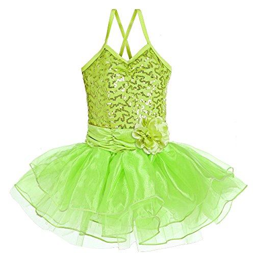 [BAOHULU Girls Kids Sleeveless Shiny Princess Tutu Gallus Ballet Dress Green 4-5Y] (Cute Dance Recital Costumes)