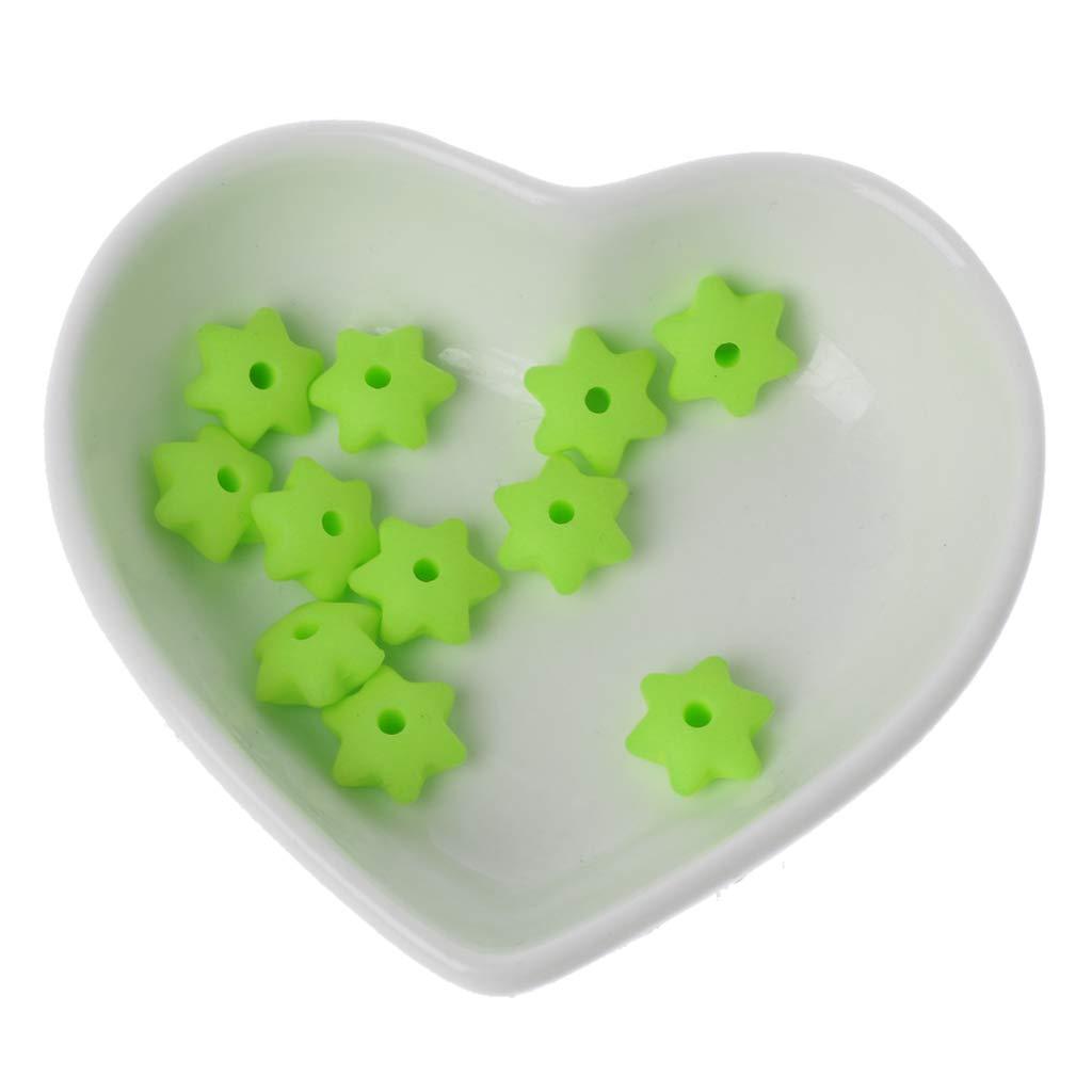 1# Mentin 10pcs 13mm B/éb/é Dentition Perles de Silicone /Étoile Hexagonale DIY Artisanat Accessoires M/âcher des Perles en Silicone