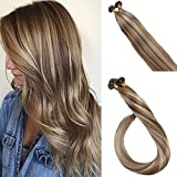 LaaVoo Pre Bonded UTips Fusion Hair Extensions 18 inch 50gram/50strands Color Brown Balayage Blonde Nail-Tip Keratin Hair Extensions Real Human Hair
