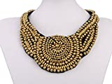 Alilang Tribal Ethnic Golden Beaded Aztec Sun Statement Necklace