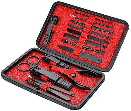 健康パーソナルケア15ピースステンレス鋼爪切りマニキュアツール爪切りトリマーセットケース付き