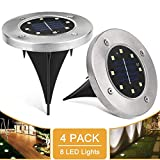 Solar Ground Lights 8 LED Waterproof Garden Pathway Outdoor in-Ground Lights,Pack of 4,White Light