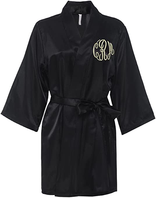 Long Personalised Bridesmaid Robes Set of 5 \u2022 Wedding lace satin getting ready dressing gown \u2022 Monogrammed initial bridal shower party gift