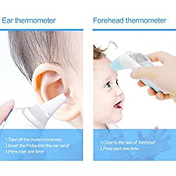 Baby Ear and Forehead Best Accurate Thermometer Fever Digital Infrared Instant Medical Thermometer Professional for Infants, Toddler, Adults and Objects - CE and FDA