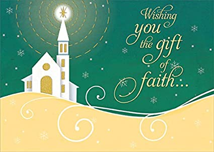 shining star gift of faith designer greetings box of 18 religious christmas cards - Religious Christmas Cards