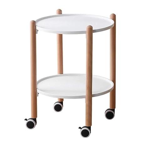 Amazon.com: Mesa de café redonda, de madera maciza, para ...