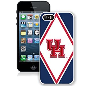 Beautiful Designed With NCAA American Athletic Conference AAC Football Houston Cougars 3 Protective Cell Phone Hardshell Cover Case For iPhone 5S Phone Case White