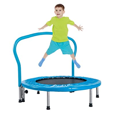 "SSLine 36"" Folding Kids Trampoline with Handrail Portable Mini Rebounder Home Small Fitness Trapolines Child Toddler Jumping Trampoline for Indoor Outdoor Use - 180LBS Weight Capacity (Blue) : Sports & Outdoors"