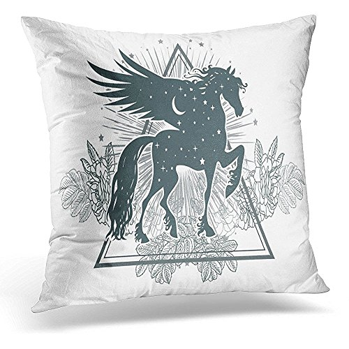 (Throw Pillow Cover Boho Ethnic Tribal Horse Spiritual Esoteric Totem Animal Symbol and Tattoo Design Fairy Abstract Decorative Pillow Case Home Decor Square 18x18 Inches Pillowcase)