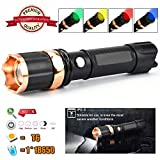 45000LM Tactical Police LED Torch Flashlight Replaceable 4 Colours Flashlight Lens Battery Powered Aluminum Torch Zoomable 3 Modes Handheld Standard Strobe Effect Camping Light Torch