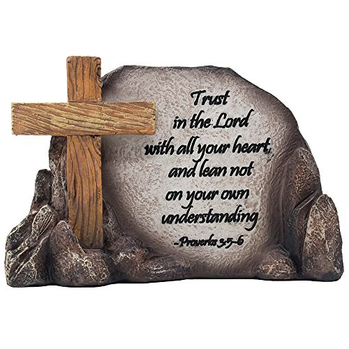 Decorative Holy Cross Desktop Plaque Figurine for Religious and Christian Rustic Decor As Spiritual Decorations with Faith in God Bible Verse As Inspirational Easter or Christmas Gifts -