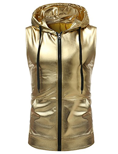 ZEROYAA Mens Hipster Metallic Zip Up Sleeveless Hooded Vest T Shirt with Kangaroo Pocket Z86 Gold Large