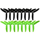 RAYCORP 5040 3-Blades 5x4x3 Propellers. 16 Pieces (8CW, 8CCW) Black & Green 5-inch Tri Blades Quadcopter & Multirotor Props + Battery Strap