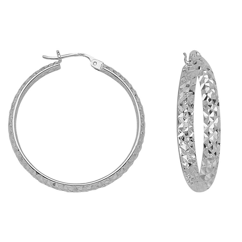 10KT GOLD IN/&OUT DIAMOND CUT HOOPS 3//30MM HOOP EARRINGS