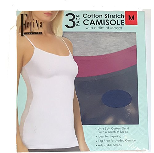 Felina Ladies Camisole, 3-Pack (Pink, M) (Felina Cotton Camisole)