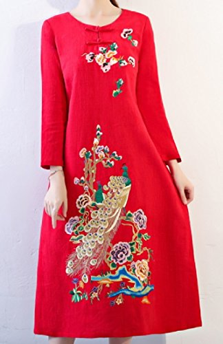 Womens Sleeve Style Embroidery Red Chinese Dress Coolred Long Frock Retro UgxFdAnSn