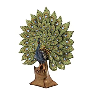 Deco 79 Poly-Stone Peacock, 11 by 14-Inch