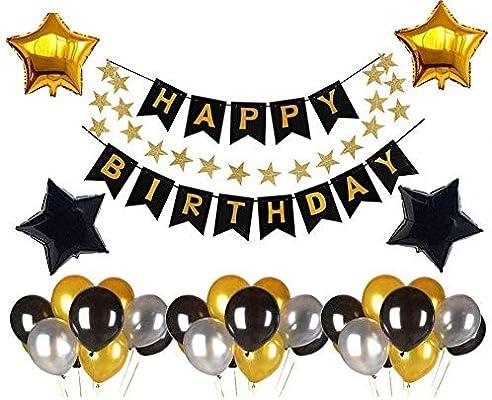 Eshall - Set de decoración de cumpleaños con guirnaldas de ...