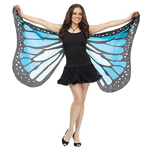 Fun World Women's Blue Fabric Butterfly Wings, -