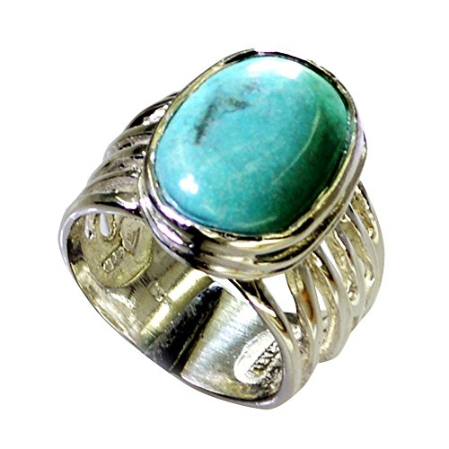 55Carat Genuine Turquoise Ring Men Silver Statement Bold Oval Birthstone Handmade Size (Bold Oval Ring)