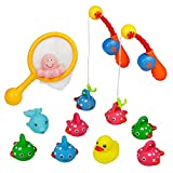 Animal Squirters Fishing Game, Water Pool Sounding Toy, Water Play Set, Duck Floating Set, Beach Toy Game 13 Pcs for Kids Aged 3+
