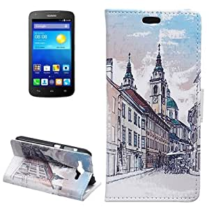 City Pattern Background Funda Horizontal con tapa piel Case Cover con Slots & Wallet Card Holder & para Huawei Ascend Y520