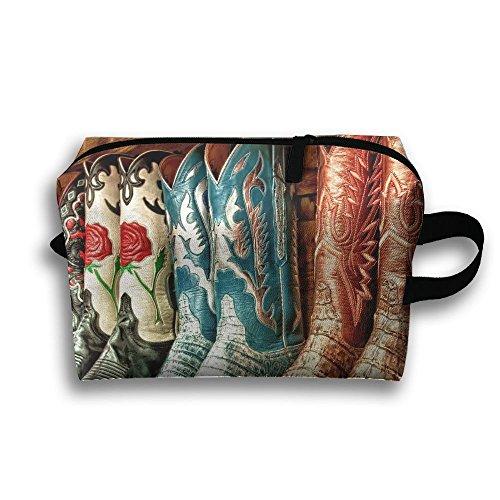 Cowboy Boot Purse - Colorful Cowboy Boots Cosmetic Bags Makeup Organizer Bag Pouch Purse Handbag Clutch Bag