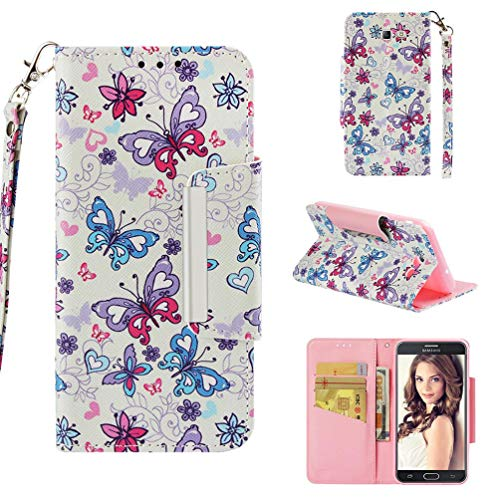 - Case for Galaxy J7 (2017)/J720,Slim Kickstand 3D Printing PU Leather Wallet Case with Wrist Strap & Magnetic Closure Inner Soft TPU Bumper Compatible with Samsung Galaxy J7 (2017)/J720 -Butterfly
