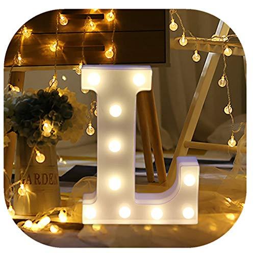 Hot Sale Alphabet LED Letter Lights, Keepfit Light Up White Plastic Letters Standing Hanging for Home Party Bar Wedding Decoration (L, 8.7