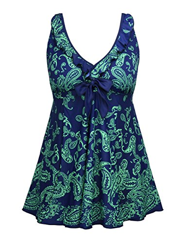 Firpearl-Womens-Retro-Tie-Front-Swimdress-Ruffle-Plus-Size-Tankini-Top-Swimsuit