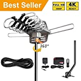 [2019 Latest] TV Antenna Amplified Digital Outdoor Antenna -150 Miles Range-33Ft Coax Cable-360 Degree Rotation Wireless Remote-Snap- UHF/VHF 4K 1080P Channels- On Installation Support 2 TVs