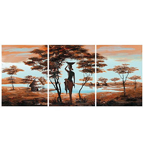 GEVES African Tribe House Beauty Landscape Small Piece Wall Art Canvas Painting Artwork Framed Pictures for Living Room Home Decoration Ready to Hang