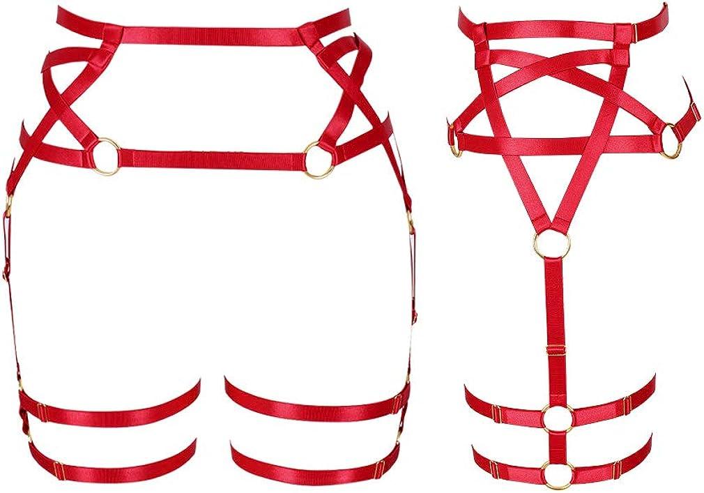 Womens body harness Pentagram garter Leg strap Lingerie cage Waist belt Punk gothic Plus size Festival rave