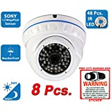 Evertech 1200TVL Day Night Vision Outdoor Indoor Dome CCTV Security Camera Compatible AHD TVI CVI and Traditional Analog DVRs w Free CCTV Sticker Warning Sign (8 pcs. 1200TVL)