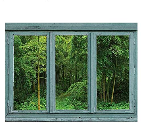 Wall Stickers Vintage Teal Window Looking Out Into A Green Jungle with A Path - Wall Mural, Removable Sticker, Home Decor - 24X32