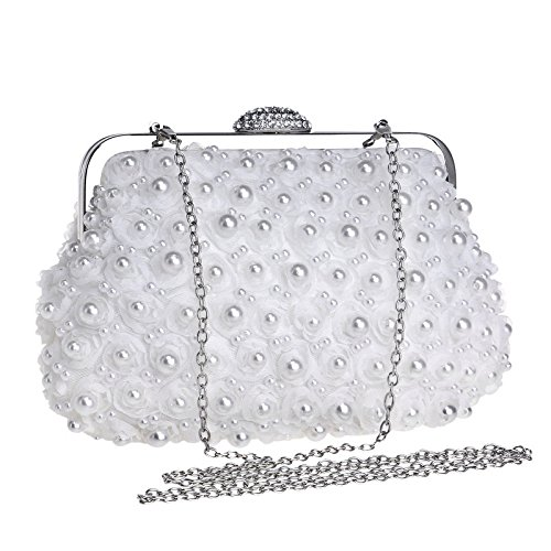 Women Clutch Bag Purse Evening Handbag Glitter Pearl Flowers Shoulder Bag For Bridal Wedding Party Prom Clubs Ladies Gift,White-23.513.54.5cm
