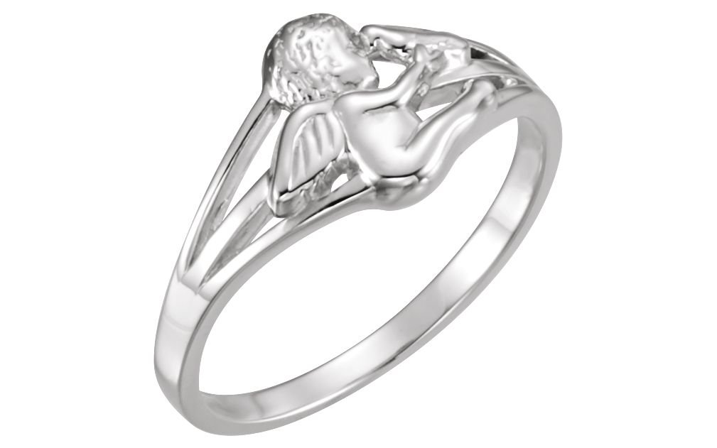 Angel and Dove Rhodium Plate Sterling Silver Ring, Size 6.5