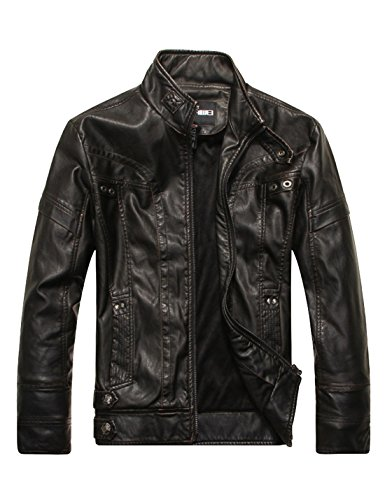 Faux Slim PU Collar Coats Leather Yeokou Jackets Stand Men's Down Zipper Black 0qx55XOYaw