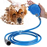 Sanlan Pet Bathing Tool, Massage and Scrubber in-One for Dog cat pet Shower Sprayer, Adjustable Handheld Grooming Shower Head Brush for Indoor and Outdoor