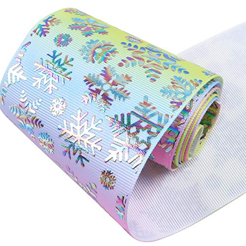 David Accessories Snowflake Christmas Gold foil Grosgrain Fabric Ribbon 3
