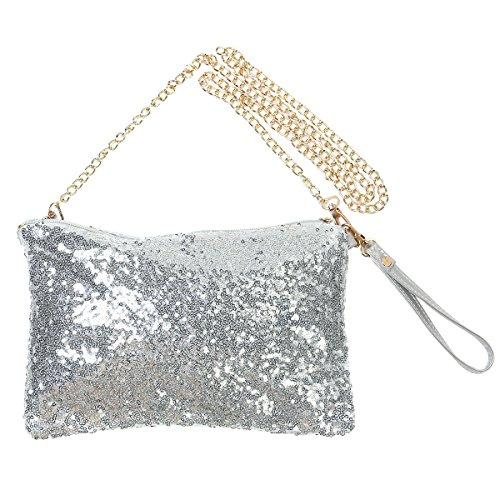 OULII Moda Glitter Bag borsa partito sera frizione borsa a tracolla per le donne (argento)